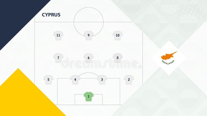 Cyprus team preferred system formation 4-3-3, Cyprus football team background for European soccer competition.  royalty free illustration