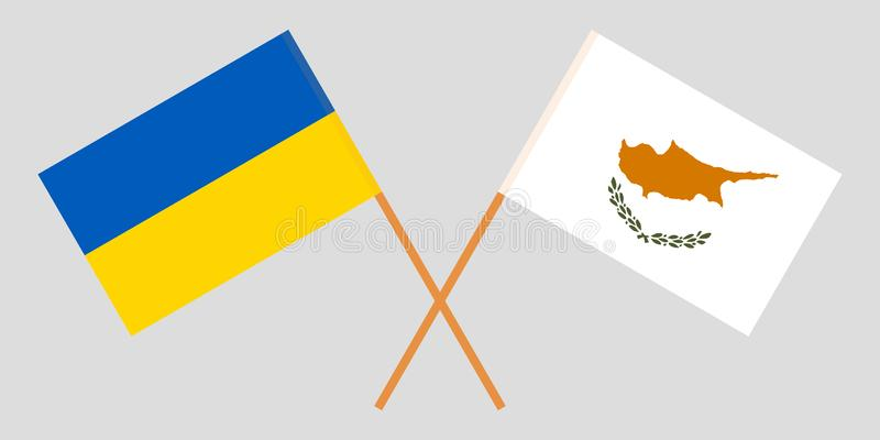 Cyprus and Ukraine. The Cyprian and Ukrainian flags. Official proportion. Correct colors. Vector vector illustration