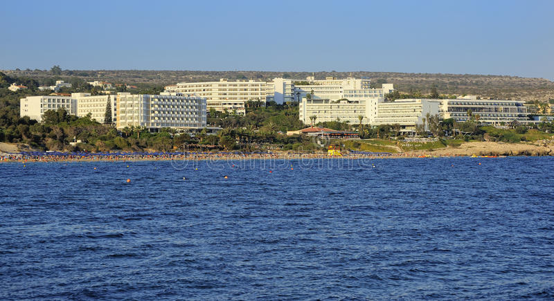 Cyprus, View of the lively beaches and hotels royalty free stock photos