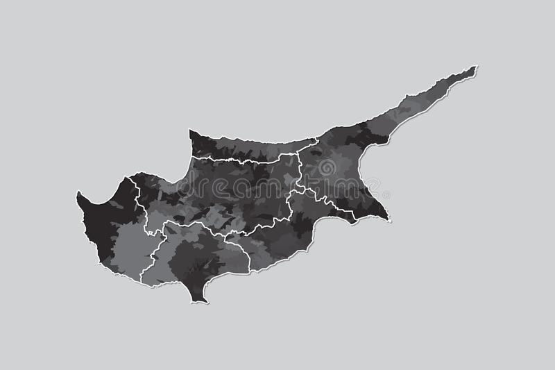 Cyprus watercolor map vector illustration of black color with border lines of different regions or districts on light background. Using paint brush in page royalty free illustration