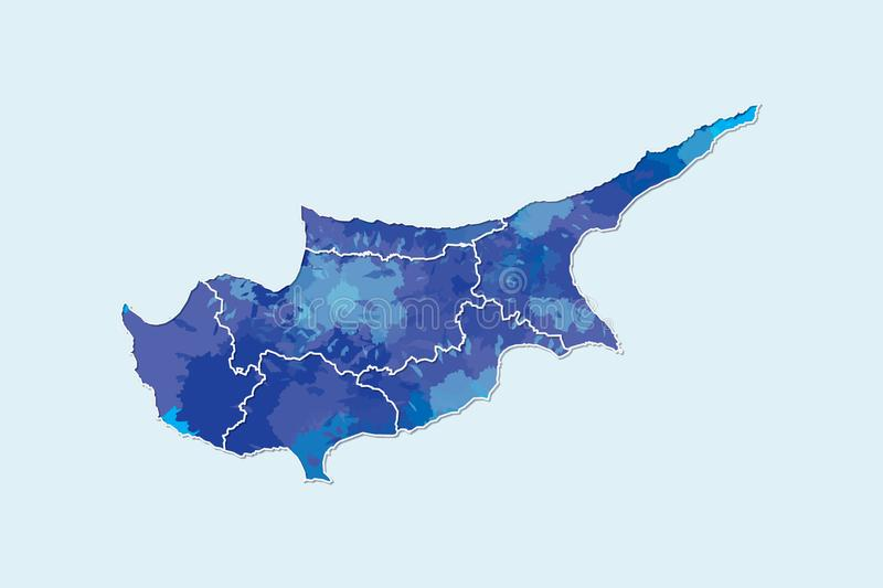 Cyprus watercolor map vector illustration of blue color with border lines of different regions or districts on light background. Using paint brush in page royalty free illustration