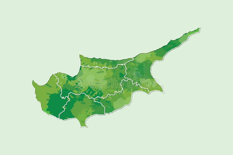 Cyprus watercolor map vector illustration of green color with border lines of different regions or districts on light background. Using paint brush in page vector illustration