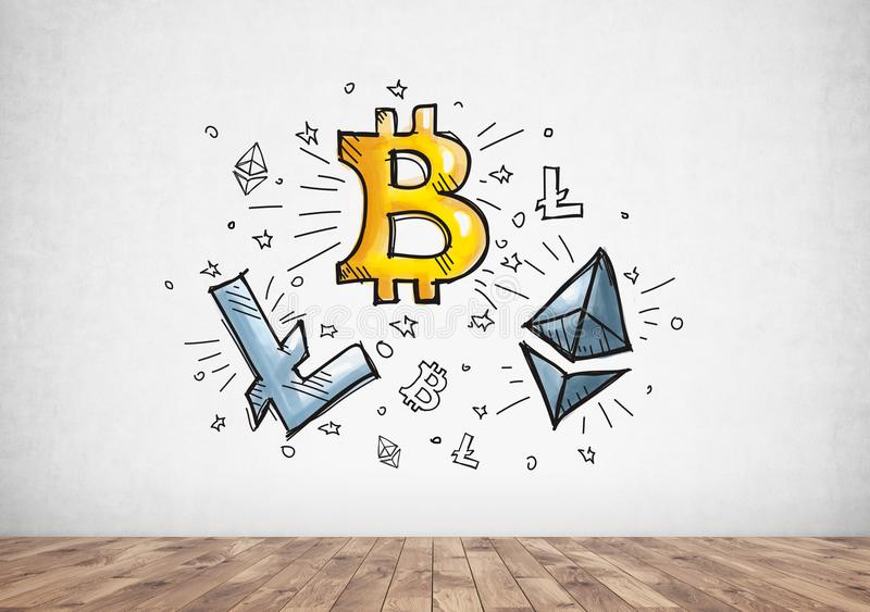 Cyptocurrency, bitcoin and blockchain icons stock photography
