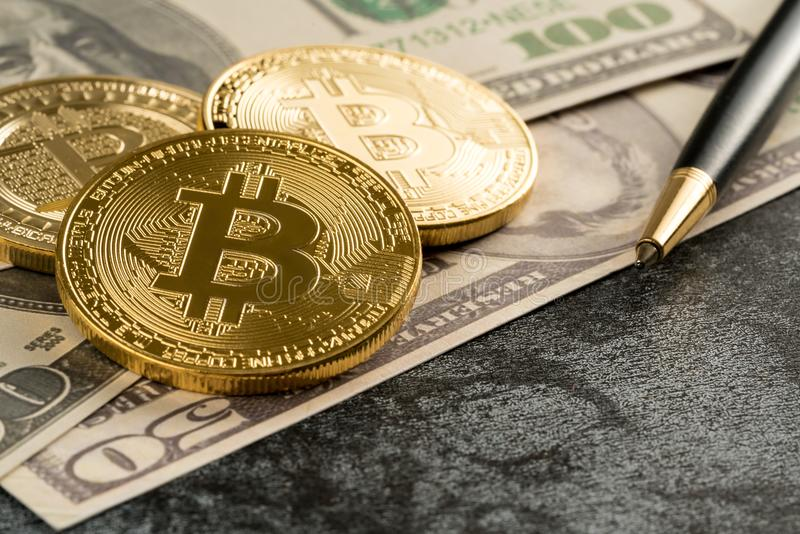 Cyptocurrency Bitcoin with money future digital currency stock photos