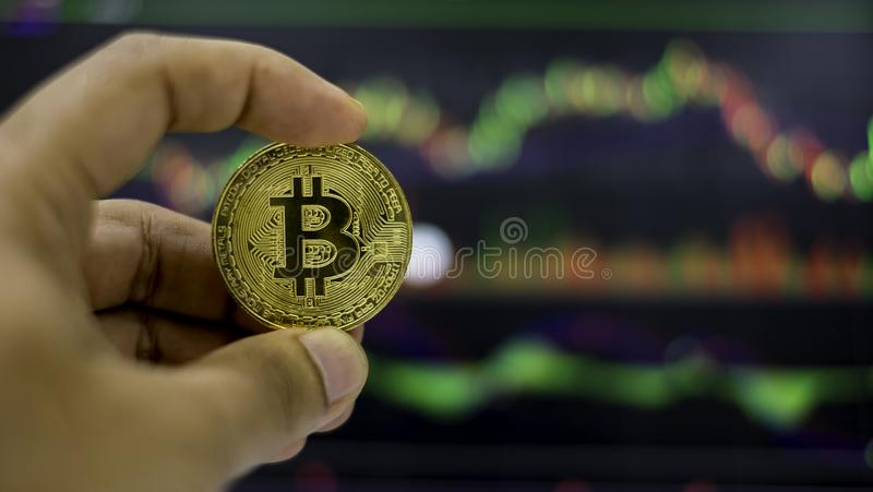 Cyptocurrency; digital money for new financial platform stock image