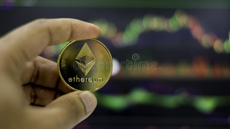 Cyptocurrency; digital money for new financial platform stock photos