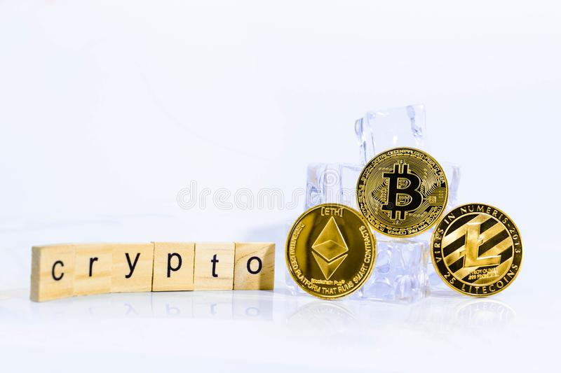 Cyptocurrency on the Ice Rock stock photos
