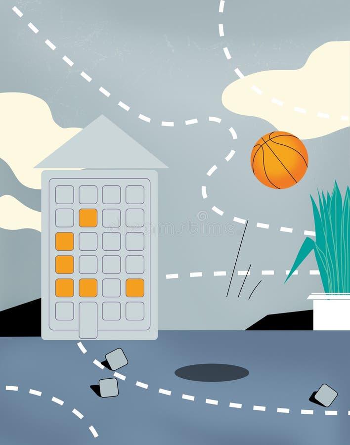 Cyrillic alfabet för konditionalfabet Grå färger som hoppar med fritt fall med moln Ett hus i form av en meddelare En basketboll  stock illustrationer