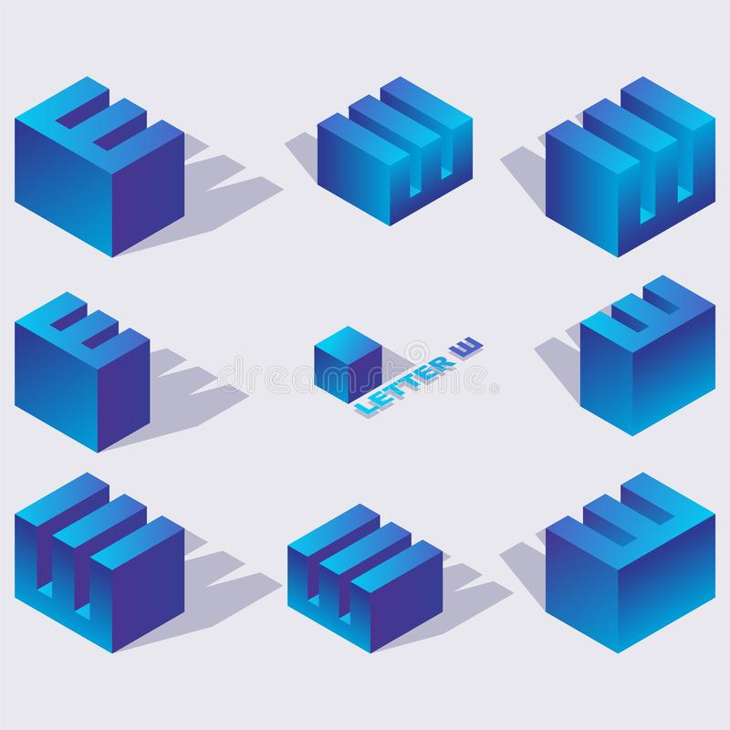 Cyrillic letter sha in isometric 3d views. Blue characters drawn with vivid gradients and shadows. Creative elements for logo or stock illustration