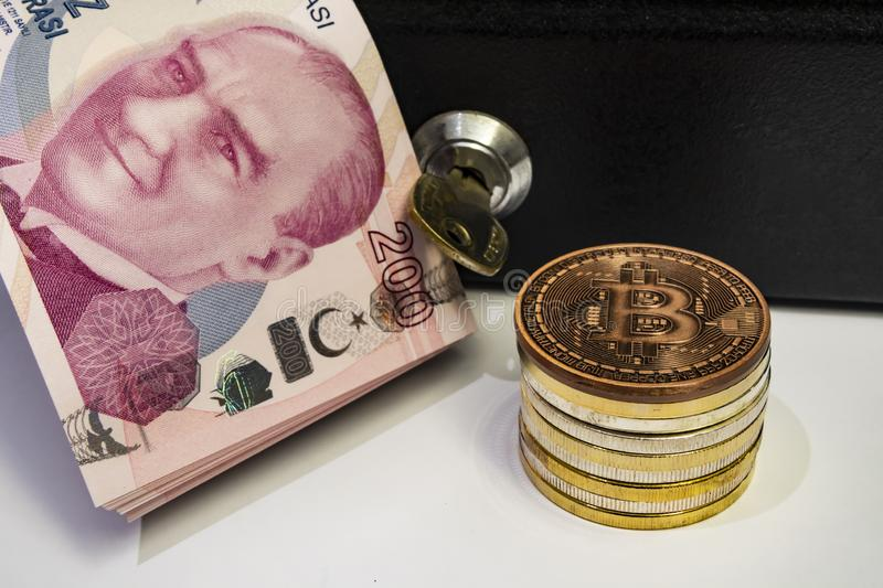 Cyripto money mining.Bitcoin is a digital asset designed to work in peer-to-peer transactions as a currency. Close up physical bitcoin coins stock image