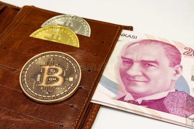 Cyripto money mining.Bitcoin is a digital asset designed to work in peer-to-peer transactions as a currency. Close up physical bitcoin coins stock photos