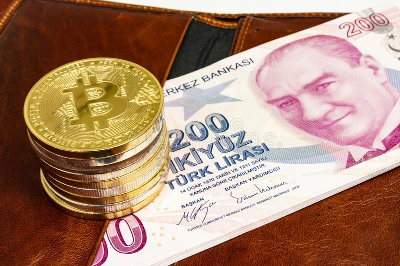 Cyripto money mining.Bitcoin is a digital asset designed to work in peer-to-peer transactions as a currency. Close up physical bitcoin coins stock images