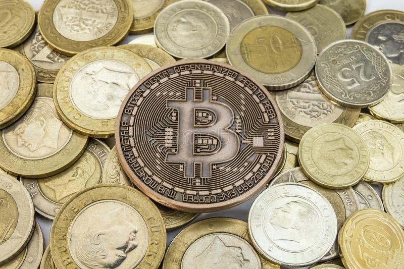 Cyripto money mining. close up physical bitcoin coin royalty free stock images