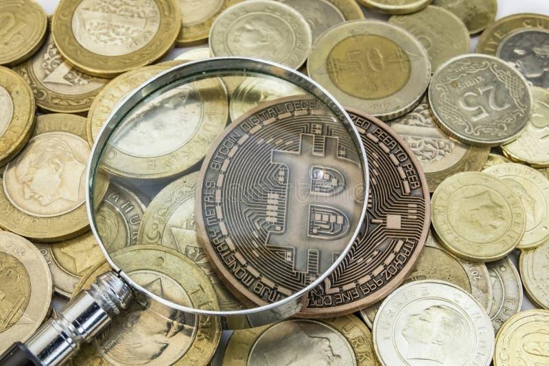 Cyripto money mining. close up physical bitcoin coin stock photo