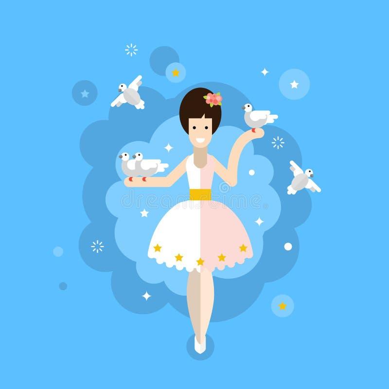 cyrk Cyrkowy artysta z gołębiami ilustracji