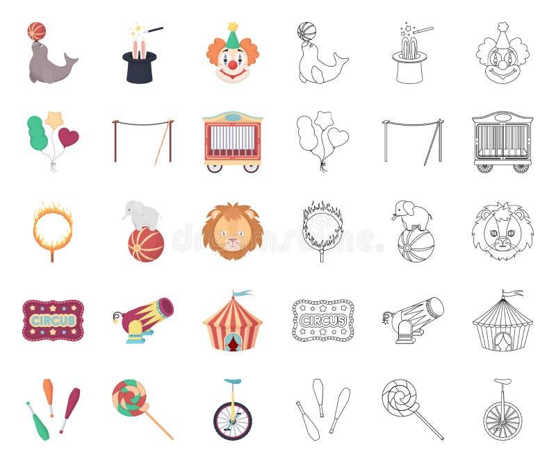 Cyrk i atrybut kresk?wka, kontur ikony w ustalonej kolekcji dla projekta Cyrkowej sztuki symbolu zapasu wektorowa sie? ilustracja wektor
