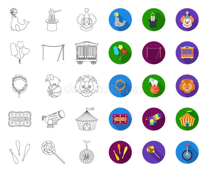 Cyrk i atrybutu kontur, p?askie ikony w ustalonej kolekcji dla projekta Cyrkowej sztuki symbolu zapasu sieci wektorowa ilustracja ilustracja wektor