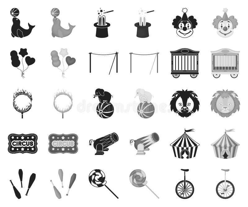 Cyrk i atrybuty czernimy, monochromatyczne ikony w ustalonej kolekcji dla projekta Cyrkowej sztuki symbolu zapasu wektorowa sieć royalty ilustracja