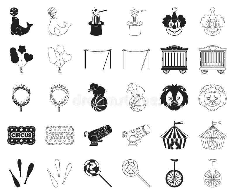 Cyrk i atrybuty czernimy, zarysowywamy, ikony w ustalonej kolekcji dla projekta Cyrkowej sztuki symbolu zapasu sieci wektorowa il ilustracji
