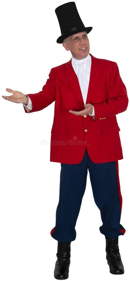 Cyrk, Karnawałowy Ringmaster, wykonawca, Odizolowywający zdjęcia royalty free