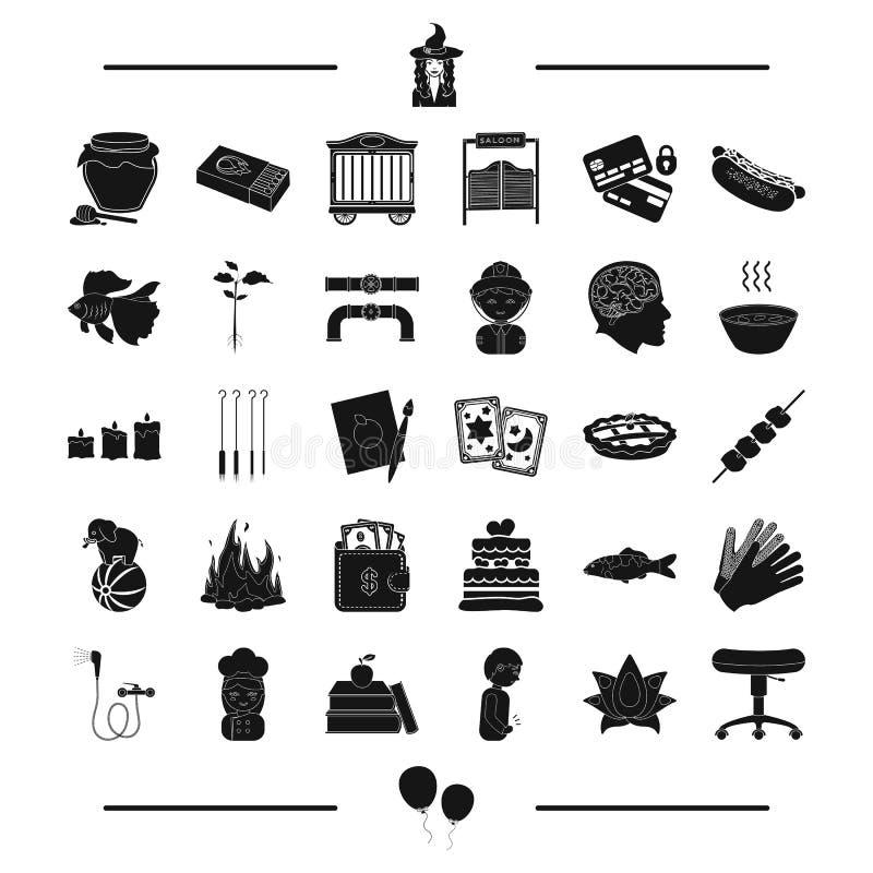 Cyrk, magia, instalacja wodnokanalizacyjna i inna sieci ikona w czerni, projektujemy medycyna, wyposażenie ikony w ustalonej kole ilustracja wektor