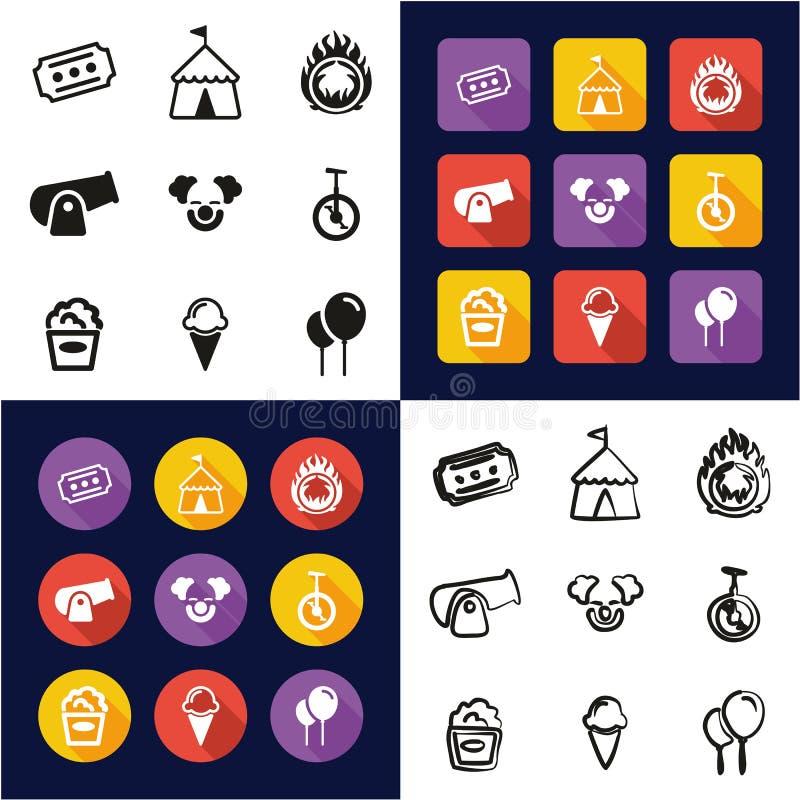 Cyrk Wszystko w Jeden ikonach Czarnych & Białego koloru Płaskim projekcie Freehand Ustawiającym ilustracji