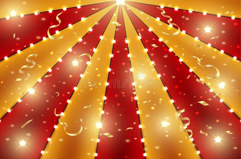 Cyrka odgórny tło czerwień i złoto linii lampas z gwiazdowymi gwiazdozbiorami, żarówkami i świecidełkiem, Retro słońce  ilustracja wektor