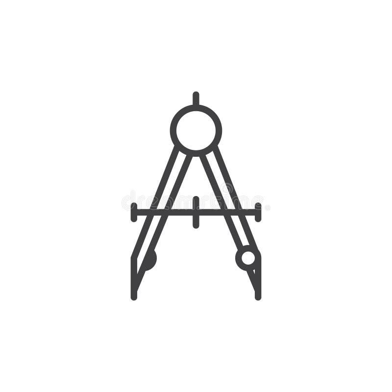 Cyrklowa divider linii ikona, konturu wektoru znak, liniowy stylowy piktogram odizolowywający na bielu ilustracji