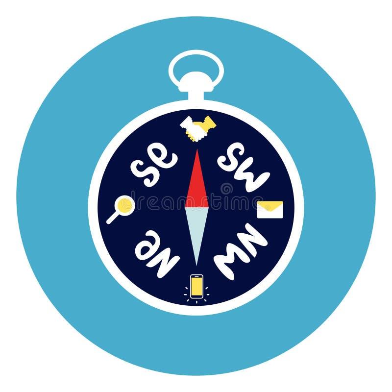 Cyrklowa ikona Na Round Błękitnym tle royalty ilustracja