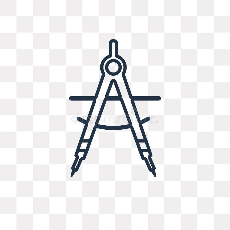 Cyrklowa wektorowa ikona odizolowywająca na przejrzystym tle, liniowy C ilustracji