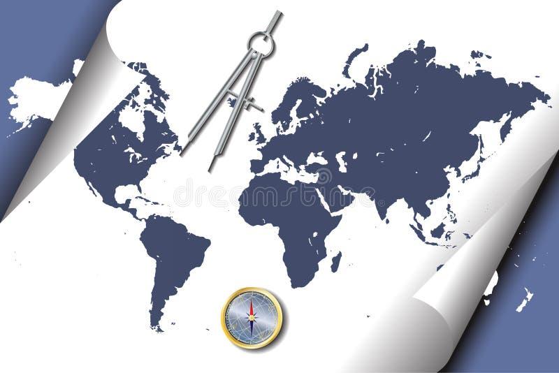 cyrklowej mapy świat ilustracja wektor