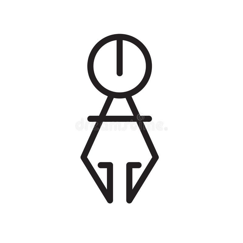Cyrklowy ikona wektor odizolowywający na białym tle, kompasu znaku, kreskowym symbolu lub liniowym elementu projekcie w konturu s ilustracja wektor