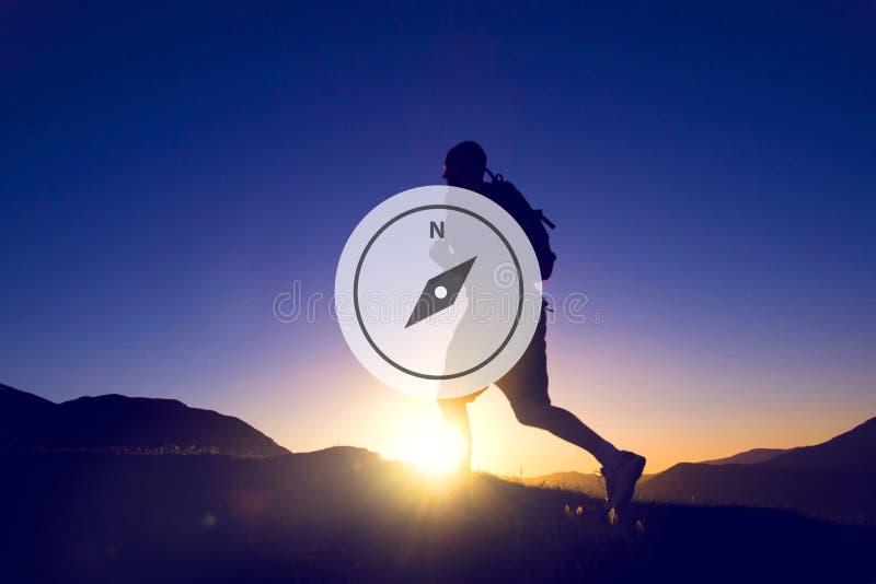 Cyrklowy kierunek nawigaci przygody instrumentu pojęcie zdjęcia stock