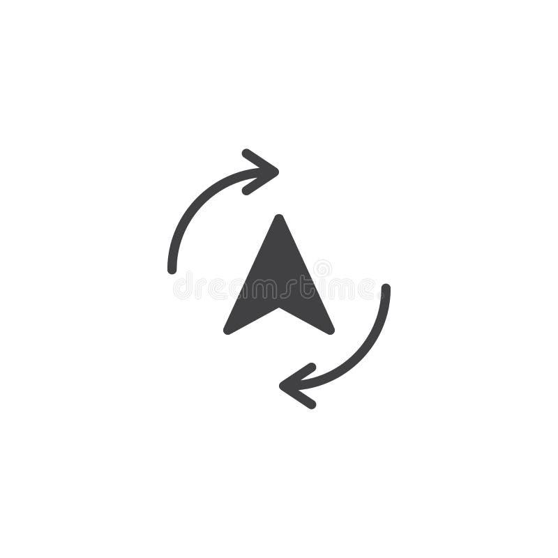 Cyrklowy kursor z kolarstwo strzała wokoło ikona wektoru ilustracja wektor