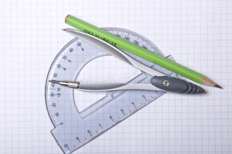 cyrklowy ołówkowy kątomierz zdjęcie stock
