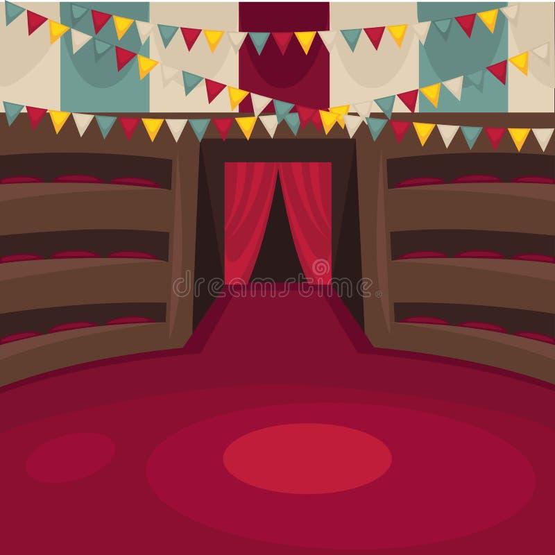 Cyrkowa arena z amfiteatralnymi rzędami i czerwoną zasłoną ilustracji
