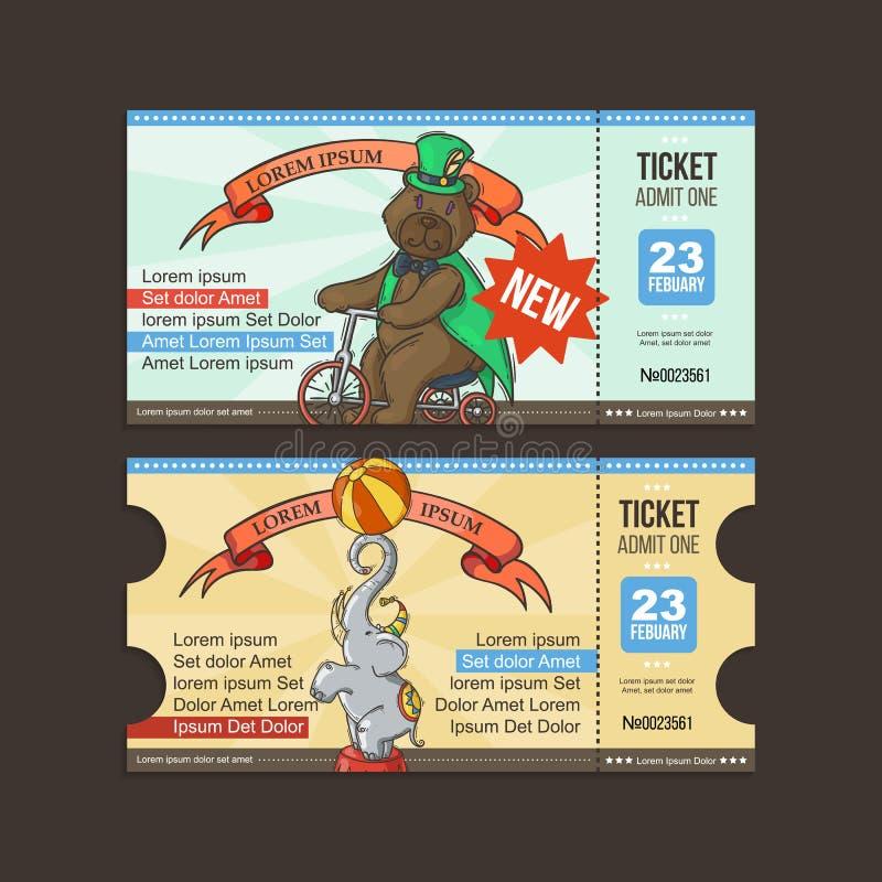 Cyrkowa Biletowa przepustka Doodle kreskówka ilustracji