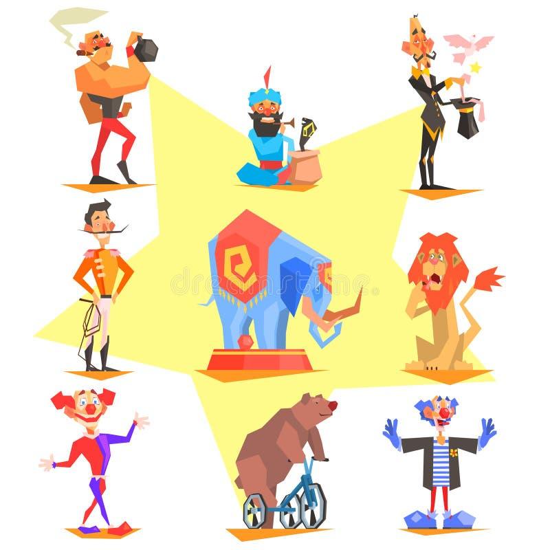 Cyrkowa kolekcja z karnawałem, zabawa jarmark, wektor royalty ilustracja