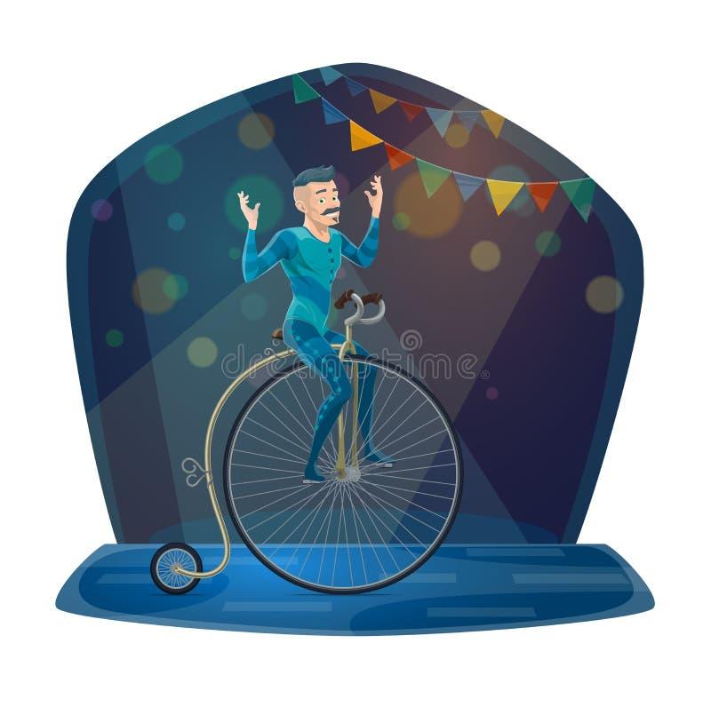 Cyrkowego akrobaty rocznika jeździecki bicykl na arenie ilustracja wektor