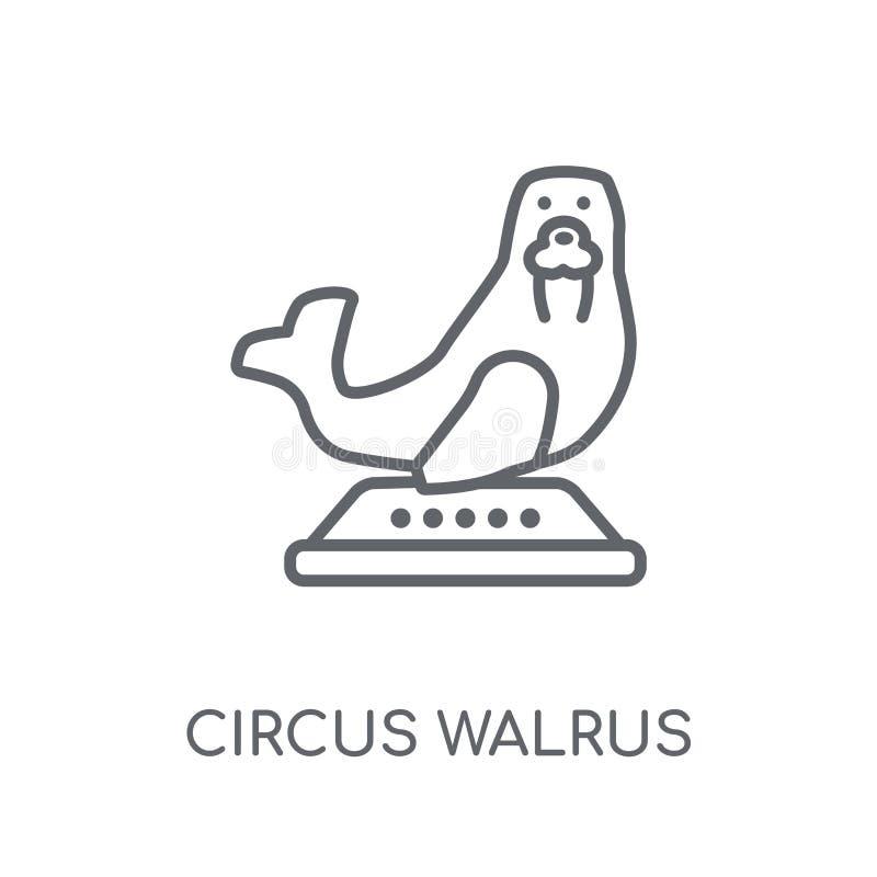 cyrkowego morsa liniowa ikona Nowożytnego konturu morsa logo cyrkowy przeciw ilustracja wektor