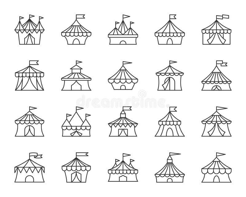 Cyrkowego namiotu czerni linii ikon wektoru prosty set royalty ilustracja