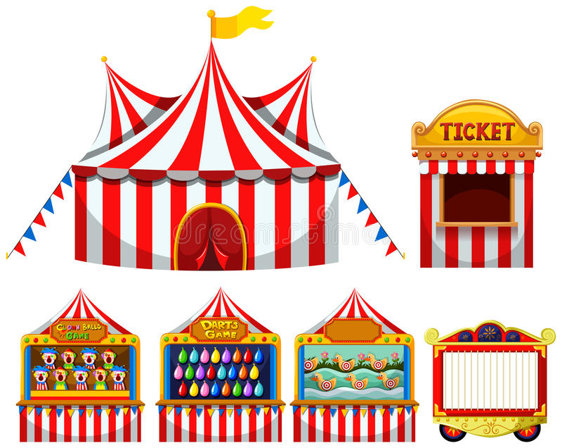 Cyrkowego namiotu i gry boothes ilustracji