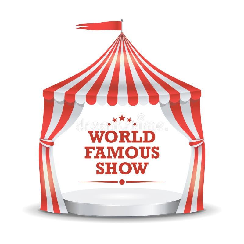 Cyrkowego namiotu wektor czerwony paskuje white Kreskówki markizy Cyrkowy Klasyczny namiot button ręce s push odizolowana początk royalty ilustracja
