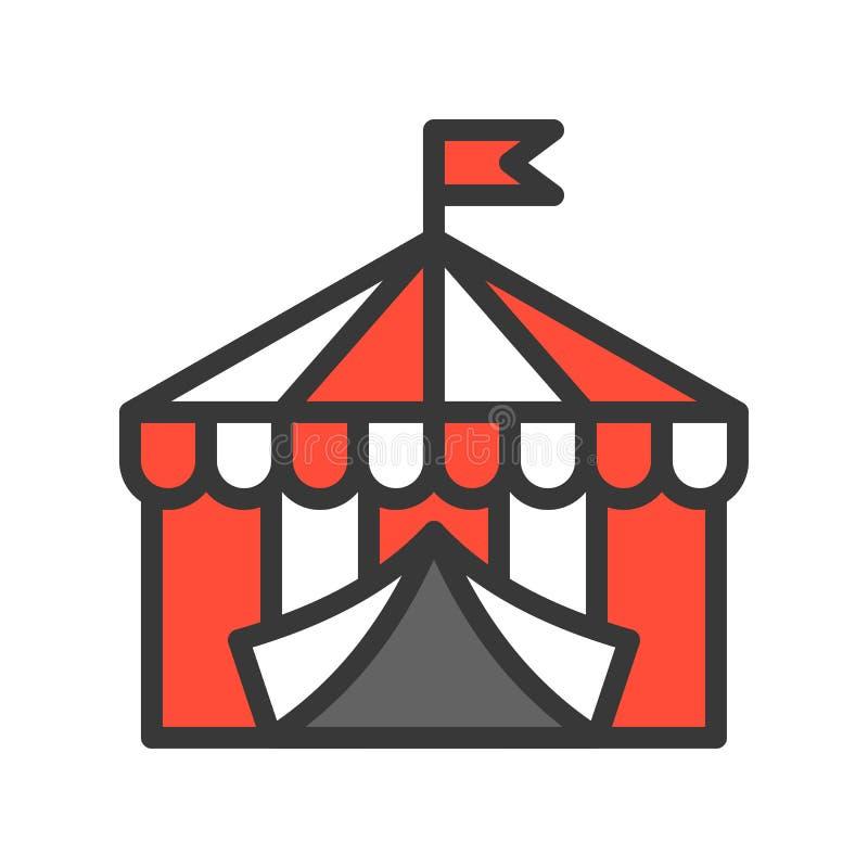 Cyrkowego namiotu wektorowa ikona, wypełniający konturu stylu editable uderzenie royalty ilustracja