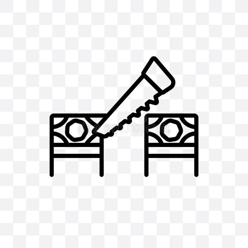 Cyrkowego piłowania wektorowa liniowa ikona odizolowywająca na przejrzystym tle, Cyrkowy piłowanie przezroczystości pojęcie może  ilustracji