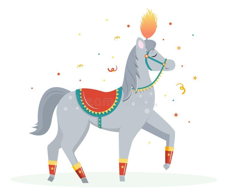 Cyrkowego wykonawcy kreskówki koń śmieszny ilustracji