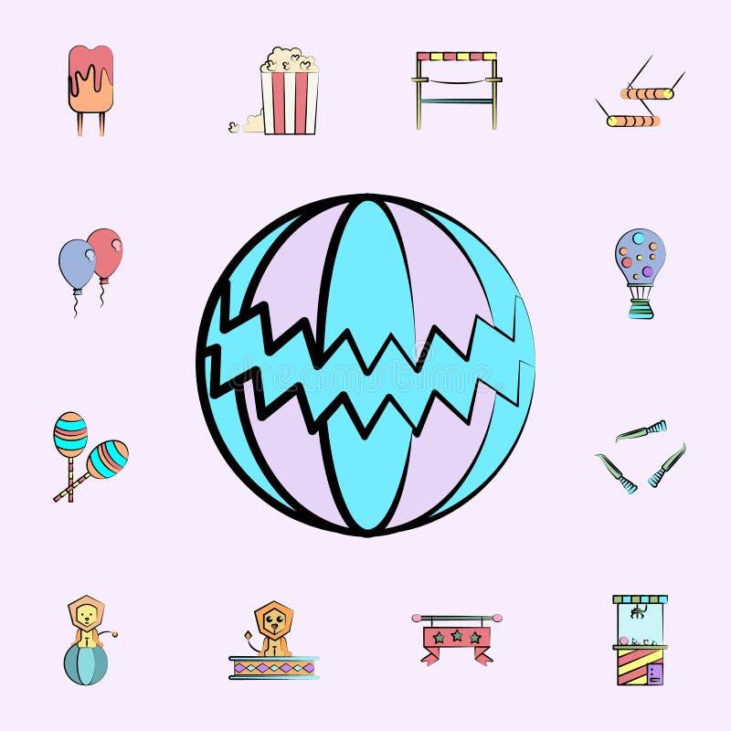 cyrkowej piłki barwiona ikona cyrkowy ikony ogólnoludzki ustawiający dla sieci i wiszącej ozdoby ilustracja wektor