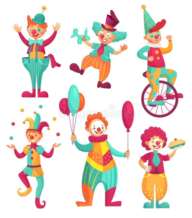 Cyrkowi błazeny Kreskówka błazenu komediant żongluje, śmieszni błazeny ostrożnie wprowadzać lub dowcipnisia partyjny cyrkowy kost royalty ilustracja