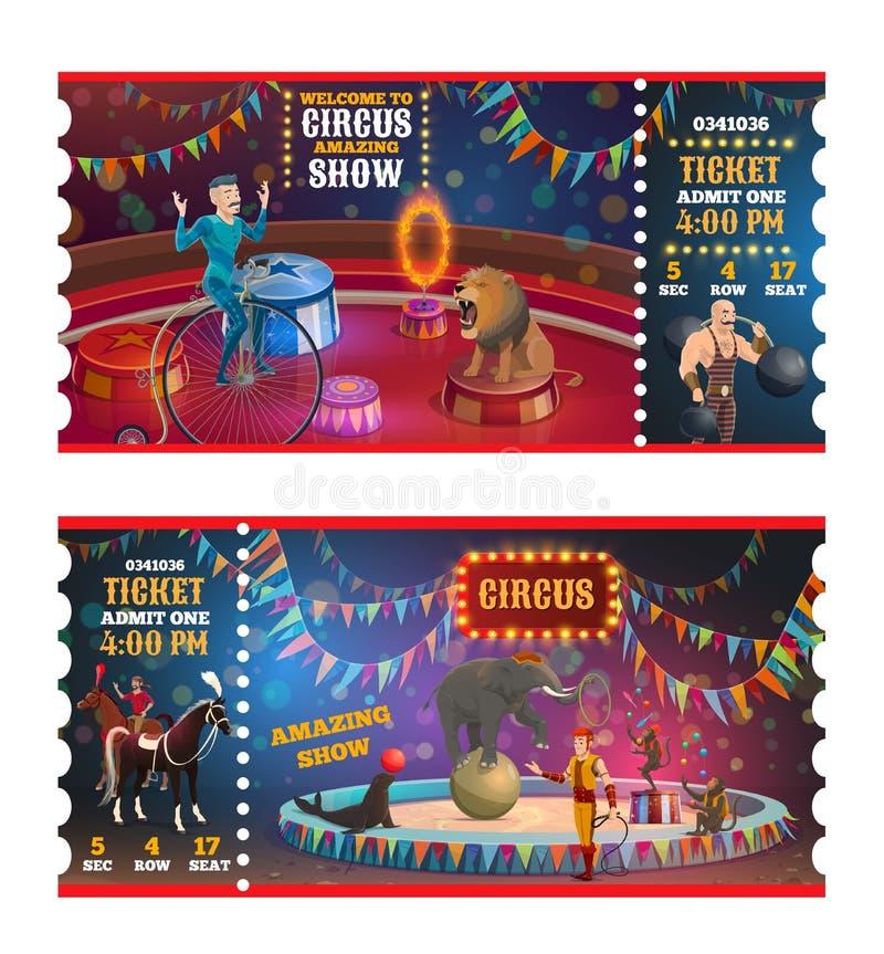 Cyrkowi magiczni przedstawienie biletów kreskówki bilety ilustracji