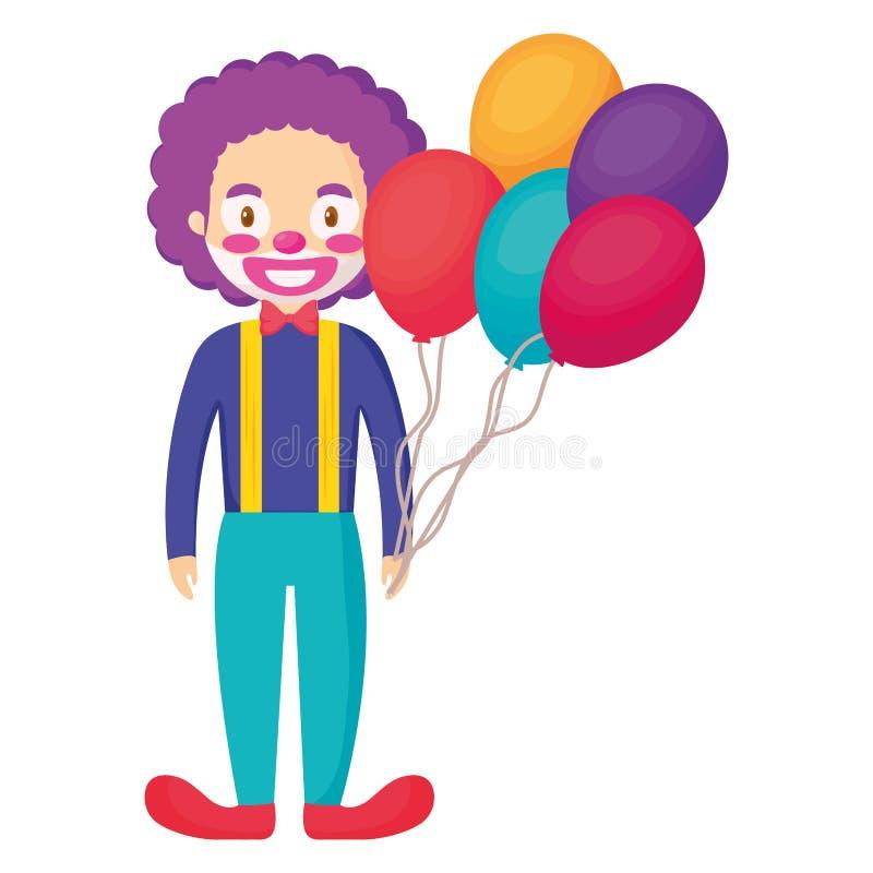 Cyrkowy błazen z balonami helowymi ilustracja wektor